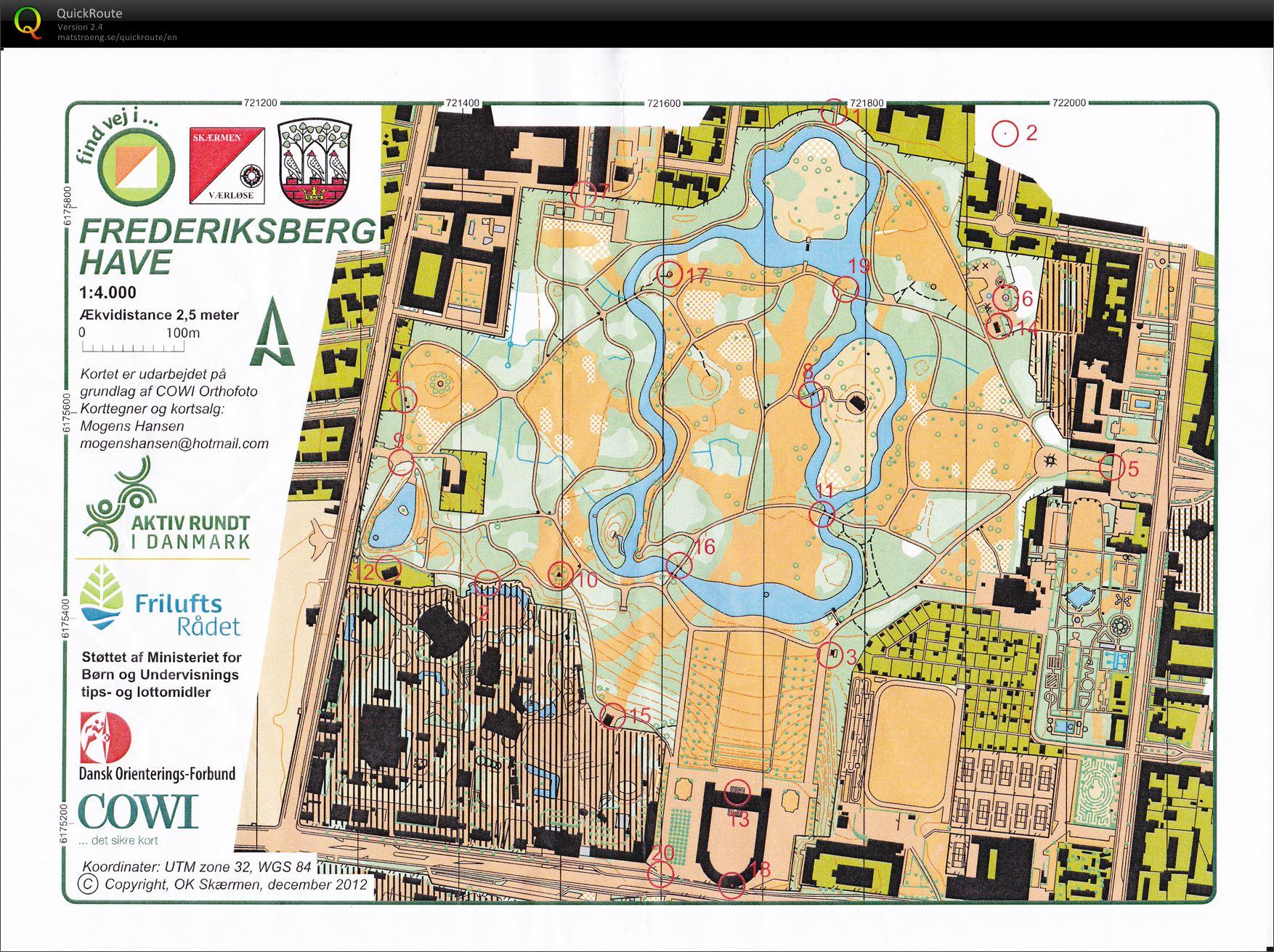 Trening Frederiksberg Have November 3rd 2013 Orienteering Map